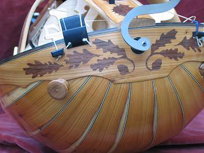 End clasp view of custom Hurdy Gurdy by Chris Allen and Sabina Kormylo
