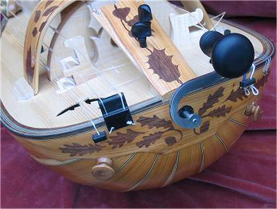 Tailpiece detail of custom Hurdy Gurdy by Chris Allen and Sabina Kormylo