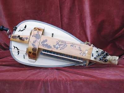 Top view of custom Hurdy Gurdy by Chris Allen and Sabina Kormylo