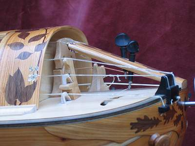 Trompette detail on custom Hurdy Gurdy by Chris Allen and Sabina Kormylo