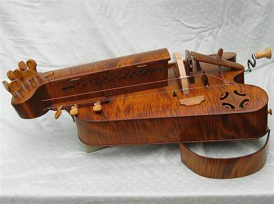 Side view of custom Hurdy Gurdy by Chris Allen and Sabina Kormylo
