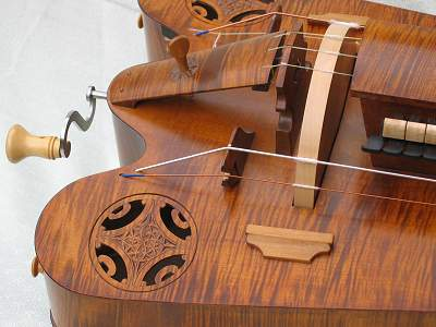 Wheel end detail of custom Hurdy Gurdy by Chris Allen and Sabina Kormylo