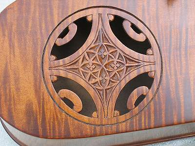 Sound hole detail of custom Hurdy Gurdy by Chris Allen and Sabina Kormylo