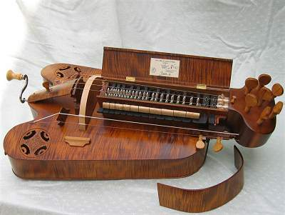 Open view of custom Hurdy Gurdy by Chris Allen and Sabina Kormylo