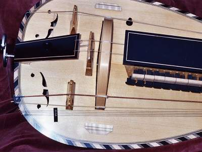 Soundboard of Pimpard Hurdy Gurdy by Chris Allen and Sabina Kormylo